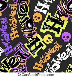 Halloween Party Funky Seamless pattern.