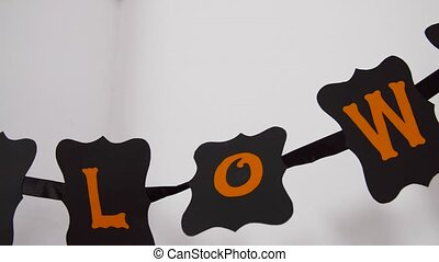 halloween party garland or banner and bats at home - ...