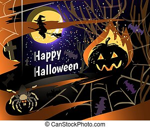 Halloween party greeting card vector illustrration