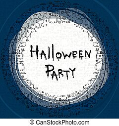 Halloween party, hand drawn cartoon seamless backgrounds sets, vector illustration