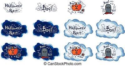 Halloween party, hand drawn cartoon sets, vector illustration