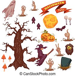 Halloween party icon set. Vector illustration