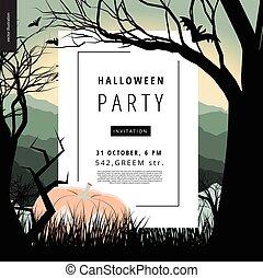 Halloween Party illustarted notice poster