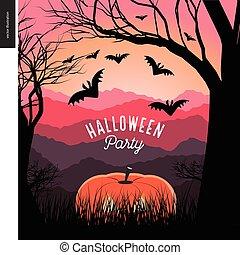 Halloween Party illustarted poster