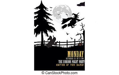 Halloween party invitation badge