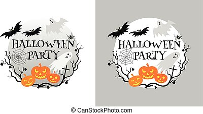 Halloween party invitation card vector illustration