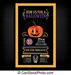 Halloween party invitation. Holiday card. Vector template ...