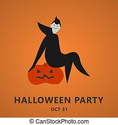 Halloween party invitation or greeting card with dracula and pumpkin. Flat design in vector illustration. EPS 10