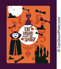 Halloween party invitation template, vector illustration. Typography poster with quote eat drink and be spooky. Traditional symbols of halloween, vampire Dracula
