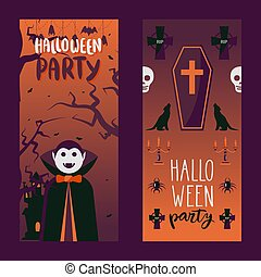Halloween party invitation, vector illustration. Vertical banners with traditional symbols of halloween vampire Dracula, coffin, spider, bat and cross
