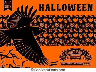 Halloween party invitation with flying Raven.
