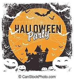 Halloween party invitation with isolated borders