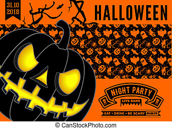 Halloween party invitation with scary pumpkin.