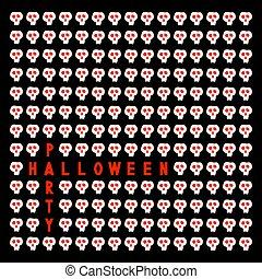 Halloween party invitation with skulls.