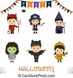 Halloween party kids character set. Children in a colorful...