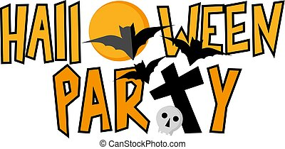 Halloween party lettering with bats and skull