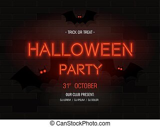 Halloween party light banner. Modern neon billboard on brick wall. Bright signboard with bats.Party invitation. Vector illustration.