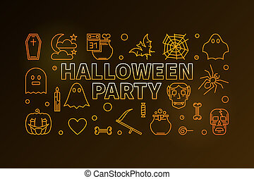 Halloween party line colorful vector horizontal illustration