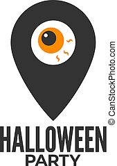 halloween party location icon on white background