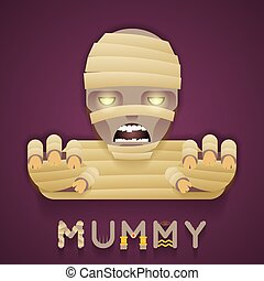 Halloween Party Mummy Role Character Bust Icon Stylish Background Flat Design Greeting Card Template Vector Illustration