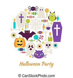 Halloween Party Objects over White