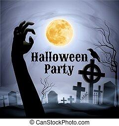 Halloween Party on a spooky graveyard under full Moon