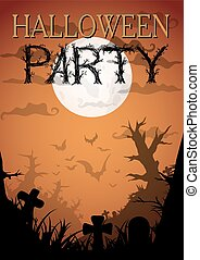 Halloween Party Orange Old Movie Style Poster. Vector ...