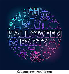 Halloween party outline round colored vector illustration