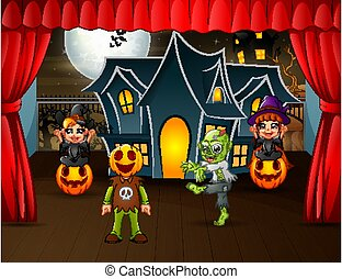 Halloween party performances on stage
