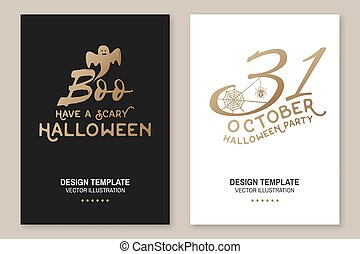Halloween party poster, flyer, template. Vector. Halloween invitation or greeting cards. Spider and web.