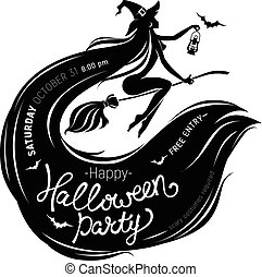 Halloween party poster with beautiful witch