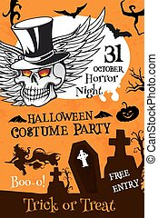 Halloween party poster with pumpkin and skull