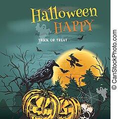 Halloween Party poster with pumpkin lanterns