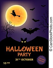 Halloween party poster  with  witch and moon.
