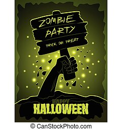 Halloween party poster with zombie