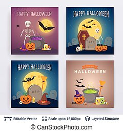 Halloween party posters set.