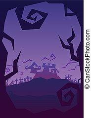 halloween party roughen purple gradient greeting