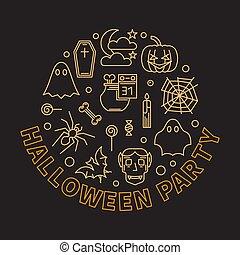 Halloween party round outline modern vector illustration