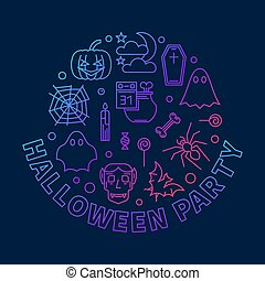 Halloween party round vector outline colored illustration