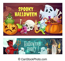 Spooky Halloween party, horrible ghosts, devil and wizard on cemetery. Vector jack-o-lantern pumpkin, skull and sack with sweets. Potion and burning candle, jelly sworn, gravestones and moonlight
