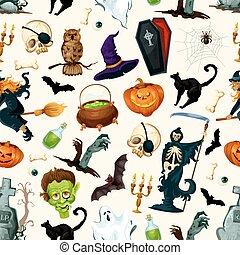 Halloween party symbols pattern