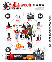 Halloween Party Template Design Infographic . concept vector ill