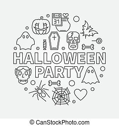 Halloween party thin line round vector modern illustration