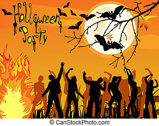 Halloween party - Vector illustration of dancing people ...