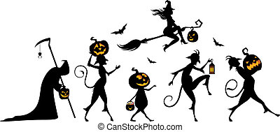Vector silhouettes of a parade on Halloween