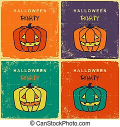 Halloween party vintage cards with pumpkins on old retro illustration