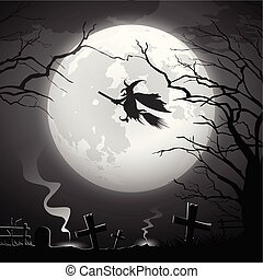 Halloween party witch ride concept scary design