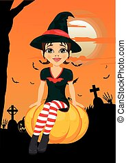Halloween party with cute witch sitting on pumpkin agains greeting card with pumpkins, bats and tombstone
