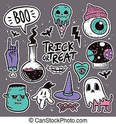 Halloween patch badges set