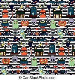 Halloween Patches Seamless Pattern